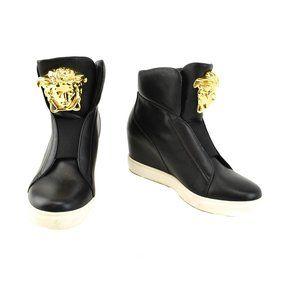 VERSACE: Black Leather & Gold Medusa Hi-Top Wedges